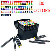 80 Color Markers Pen Dual Tips Head Graphic Art Sketch Fine Point Broad Coloring