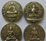 China 4 X Pieces Of 80mm Brass Medals Set - Chinese Buddhist Mountains