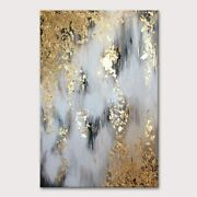 Mintura Hand Painted Oil Paintings On Canvas Gold Foil Abstract Painting Wall