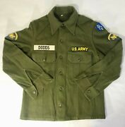 World War Ii Wwii Us Army Wool Shirt Jacket W/patches Size Small