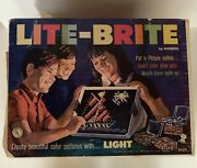 1967 Hasbro Lite Brite Toy W/original Box Shapes And Forms And Number Accessories