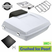 Crushed Ice Pearl Razor Tour Pack Trunk Luggage Top Box Fits 1997+ Harley