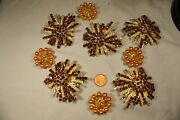 Lot9 Of Topaz Color Rhinestone And Gold Colored Faux Pearl Gold Plate Brooch