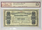 1901 Newfoundland Cash Note Andcent50 Nf-3a Sn 28023 Bcs F12- Only 18 Exists