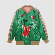 Mens Green Bomber Jacket With Panther Face Sz 50 Us L Rrp 2900