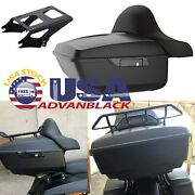 Advanblack Unpainted King Tour Pack Trunk Black Hinges And Latch For 97+ Harley