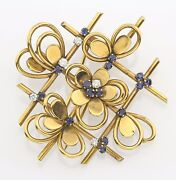Vintage French 18k Yellow Gold Diamond And Sapphire Brooch 12628