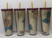 4 New Starbucks Fall 2020 Gold Quilted With Pink Roses Tumbler Rose Gold Venti
