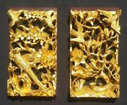 Pair Of Chinese Antique 3d Gold Gilt Birds Flower Motif Wood Carving Panels
