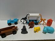 Fisher Price Vintage Toy Zoo 7 Animals Western Cart Jeep And Trolley