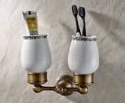 Antique Brass Wall Mounted Bathroom Toothbrush Holders Dual Ceramic Cups Wba432