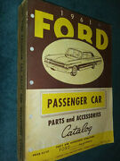 1961 Ford Car Parts And Accessories Catalog / Orig. Book Galaxie Falcon T-bird++