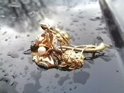 Vintage 18k Gold Pearl Diamonds Mariposa Lily Repousse 3 Dimensional Brooch 13.4