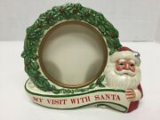 My First Visit With Santa Frame Christmas Photo Schmid Vintage 3 1/2 X 4 1/4