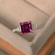 14k White Gold 1.95 Ct Princess Cut Real Ruby Diamond Engagement Ring Size 6 7 8