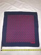 Hermes Blue And Red Silk Pocket Square