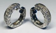 Antique Deco Fine 14k White Gold With Diamonds Hoop Earrings With Unique Clasp