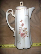 Vintage Chocolate Pot And Cups Flower Design W/lid Org