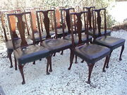 Set Of Ten Antique English Mahogany Queen Anne Style Dinning Chairs