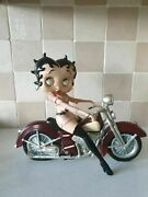 Extremely Rare Betty Boop Sexy Girl In Pink Leather On Motorcycle Fig Statue