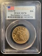 2010-w 10 Pcgs Ms 70 Fs Buchanan First Spouse First Strike Gold Coin Perfect 70