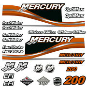 Outboard Engine Graphics Kit Sticker Decal For Mercury 200 Orange
