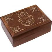Blessing Hand Carved Wooden Box - Fabric Interior - Jewellery Storage Box