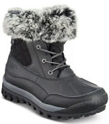 New Bearpaw Black Becka Leather Faux Fur Boots Woman Size 9