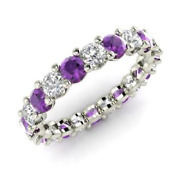 2.54 Ct Real Amethyst Diamond Wedding Eternity Band 14k Solid White Gold Size 6