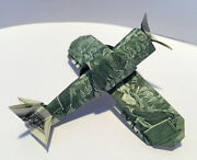Money Origami Single Engine Military Aircraft Ww2 Fighter 2 Real 2 Dollar Bills