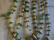 Pueblo Blue And Green Tab Turquoise And Shell Necklace 3 Strands With Fetishes