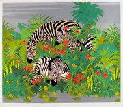Russ Elliott Zebras Screenprint Signed And Numbered In Pencil