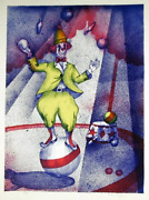Unknown Artist Juggling Clown Lithograph Signed And039raven Chizanand039 And Numbered I