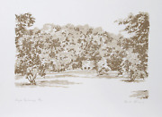 Charlene Stant Engel, Sepia Landscape, Lithograph, Signed And Numbered In Pencil