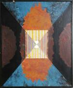 Dan Teis Fire Focal Point Acrylic And Collage On Canvas Signed L.r.