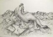Benjamin Silva Woman On The Beach Ink On Paper Signed