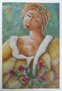 Graham Borough, Woman With Flowers, Lithograph, Signed And Numbered In Pencil