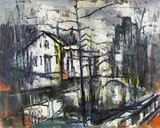Stanley Sobossek Village Canal Oil On Canvas Signed