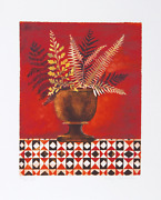Mary Faulconer Red Ferns Lithograph Signed And Numbered In Pencil