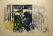 Gerald Huth Cyclist Woodcut Signed And Numbered In Pencil