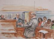 Marshall Goodman Courtroom 146 Watercolor On Paper Signed