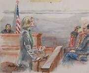 Marshall Goodman Courtroom 90 Watercolor On Paper Signed