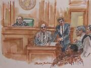 Marshall Goodman, Courtroom 98, Watercolor On Paper, Signed