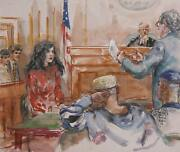 Marshall Goodman Courtroom 99 Watercolor On Paper