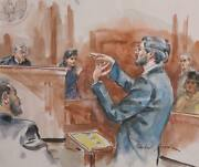Marshall Goodman Courtroom 105 Watercolor On Paper Signed