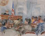 Marshall Goodman Courtroom 107 Watercolor On Paper Signed