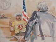 Marshall Goodman Courtroom 117 Watercolor On Paper Signed