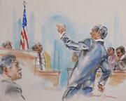 Marshall Goodman Courtroom 123 Watercolor On Paper Signed