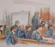 Marshall Goodman Courtroom 125 Watercolor On Paper Signed
