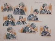 Marshall Goodman Courtroom Scene Study Of A Judge Watercolor On Paper Signed